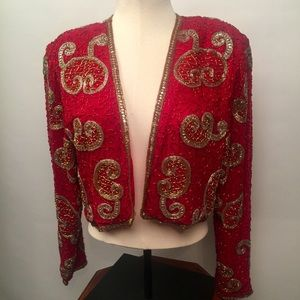 Spiegel Ebony beaded red silk bolero jacket sz14